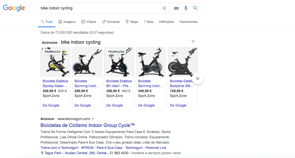Example of Google Shopping Ad Result